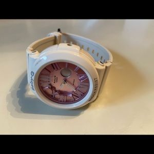 Pink and white women's baby G watch